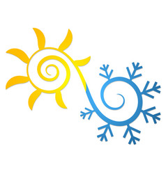 Sun and snowflake symbol for air conditioning vector