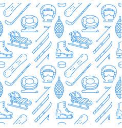 Winter sports blue seamless pattern equipment vector