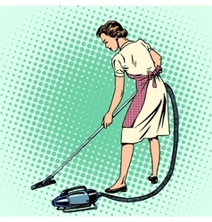 Woman vacuuming the room housewife housework vector