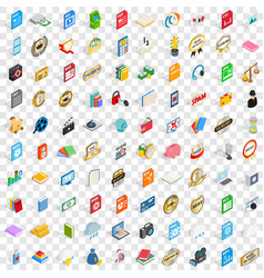 100 type icons set isometric 3d style vector