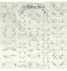 Pen drawing ribbons banners on notebook vector
