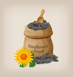 Sunflower seeds in a sack and spoon vector