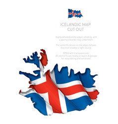 Iceland map cut-out with waving flag vector