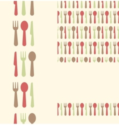 Set of three utensils seamless patterns and vector