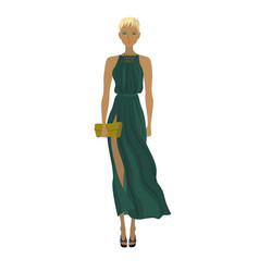 fashion blond model in the trendy long dress vector image