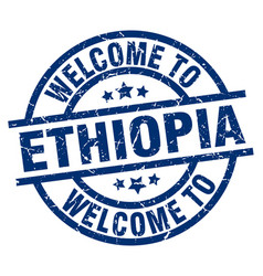 Welcome to ethiopia blue stamp vector