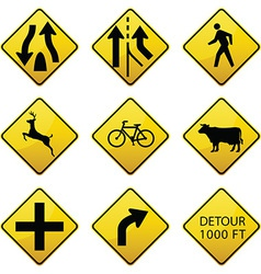 Warning traffic signs icons vector