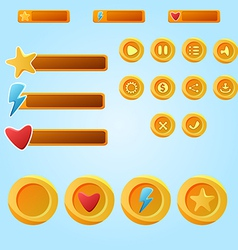 Bright yellow mobile elements for ui game - a set vector
