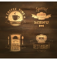 Restaurant menu emblems set wooden vector