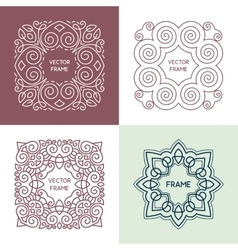 Vintage floral frame collection vector
