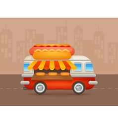 Cute cartoon realistic hot-dog van vector