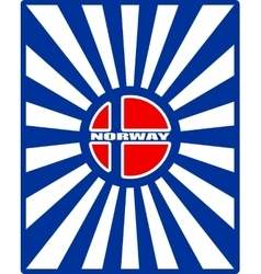 Norway flag on sun rays backdrop vector