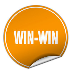 Win-win round orange sticker isolated on white vector