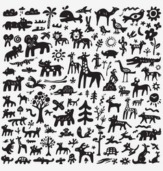 Animals doodles set vector