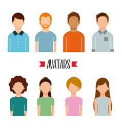 avatars people man and woman portrait character vector image