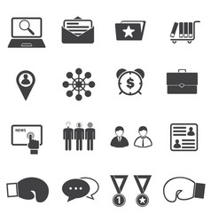 Business partners and competitors icons set vector