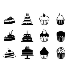 cake icons set vector image
