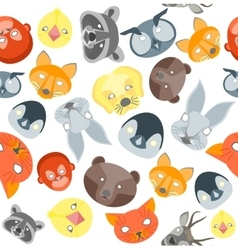 Cartoon Animals Party Mask Background Pattern vector image vector image