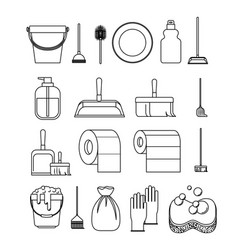 cleaning service elements sketch silhouette on vector image
