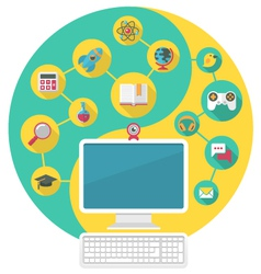Computer for education and spare time vector