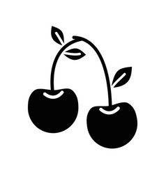Contour delicious cherry healthy fruit vector
