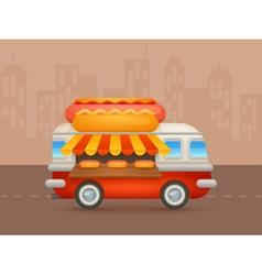 Cute cartoon realistic hot-dog van vector