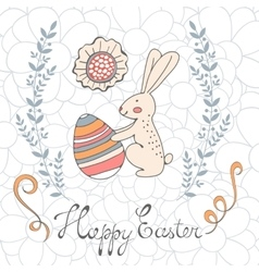 Cute easter card with easter bunny holding egg vector image vector image