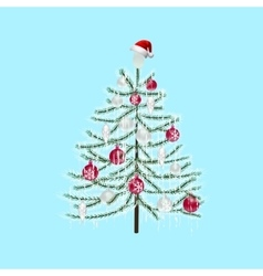 Decorated with toys christmas tree on a light blue vector