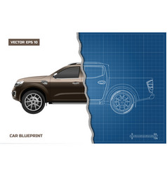 drawing of the car on a blue background side view vector image vector image
