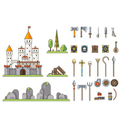 fantasy castle game weapons screen concept vector image vector image
