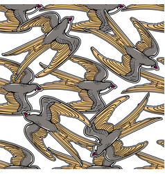 flying swallows vintage seamless pattern vector image vector image