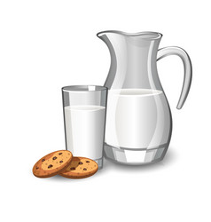 glass with milk and baked cookies vector image vector image