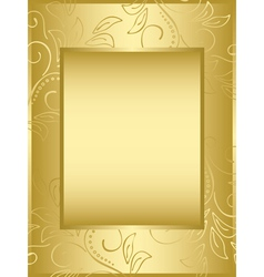 golden frame with floral background vector image vector image