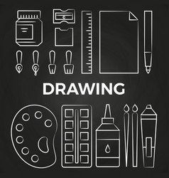 hand drawn linear drawing stationery icons on vector image