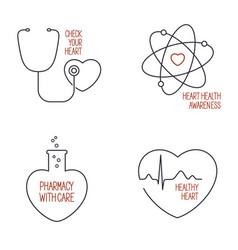Heart health icons set vector