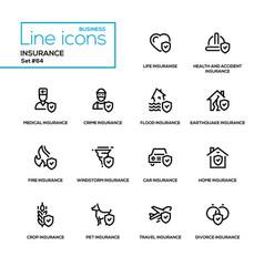 Insurance concept - line design icons set vector