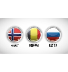Isolated flags buttons of europe design vector