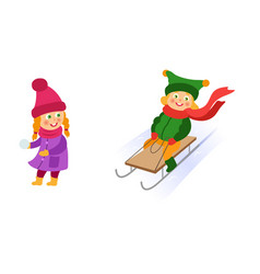 kids children riding a sleigh throwing snowballs vector image