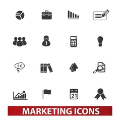marketing market icons set vector image vector image