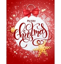 merry christmas lettering with paper vector image