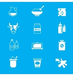 Milk dairy products icons set vector