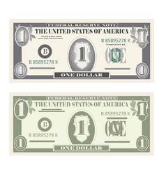 Money set paper banknotes one dollar vector