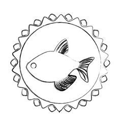 Monochrome blurred line contour with fish in vector