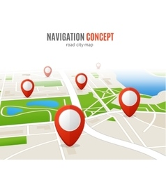 Navigation concept road city map vector