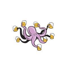 Octopus holding mug of beer tentacles vector