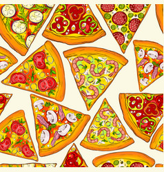 Seamless pattern made of tasty pizza slices vector