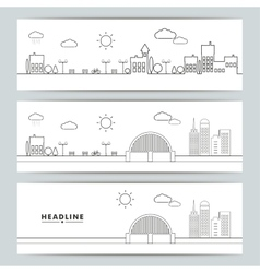 Set of banners with contour urban landscape vector image vector image