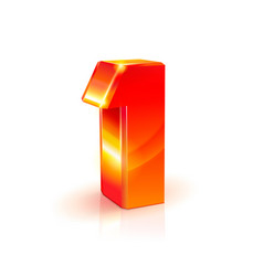 Shiny orange red 3d number 1 on white background vector