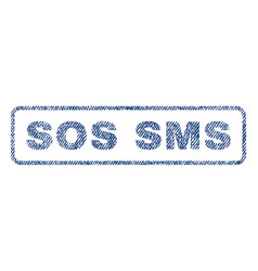 Sos sms textile stamp vector