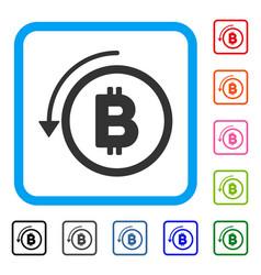 Undo bitcoin payment framed icon vector